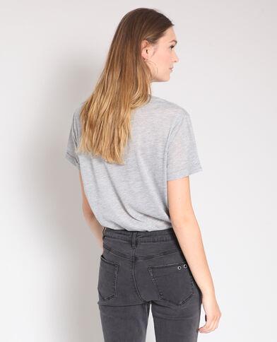 T-shirt con messaggio grigio