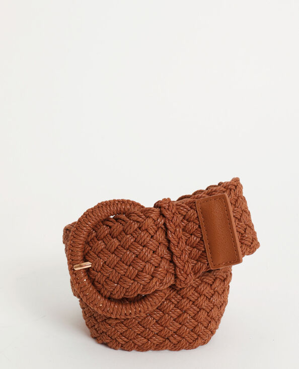 Cintura intrecciata caramello