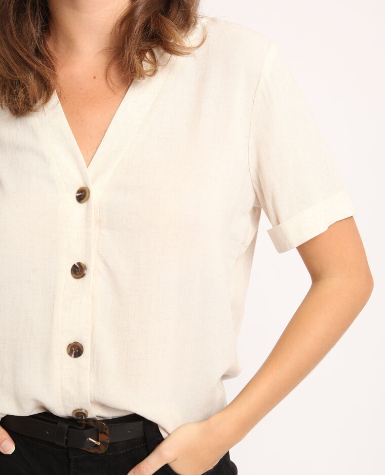 Camicia maniche corte beige corda