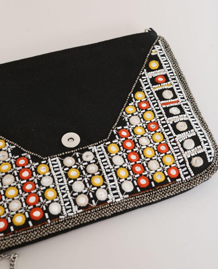 Borsa pochette con perle nero