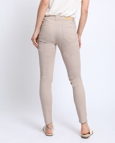 Pantalone push up mid waist beige