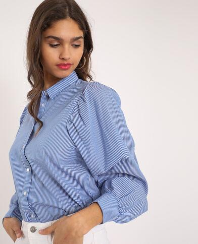 Camicia con maniche a palloncino blu