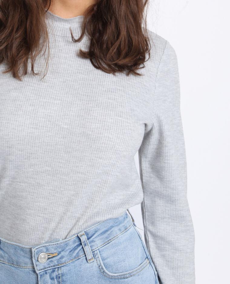 T-shirt con collo alto grigio chiné