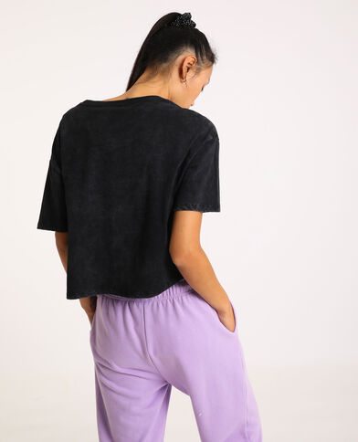 T-shirt cropped One Piece grigio antracite