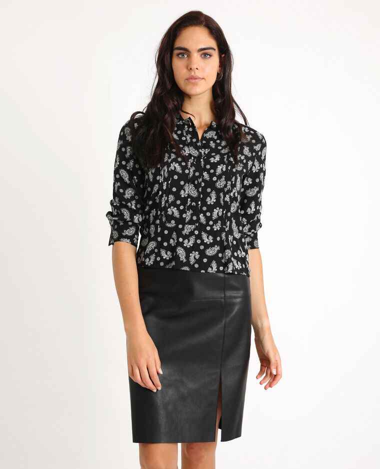 Camicia stampa cachemire nero