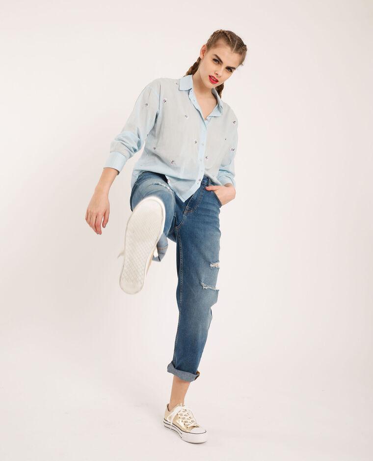 Camicia ricamata blu cielo