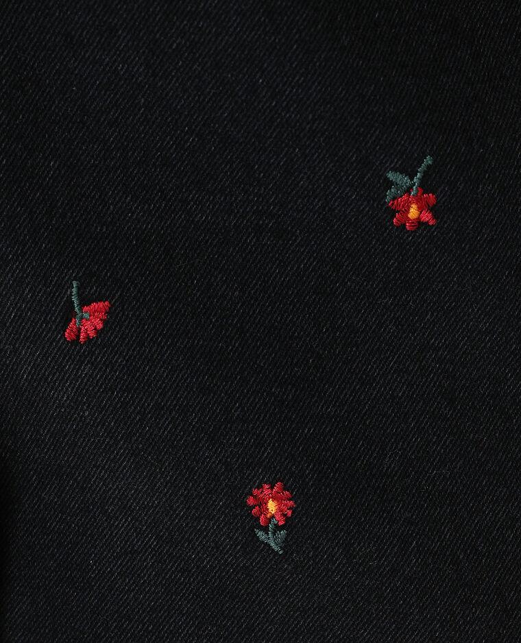Gonna di jeans a fiori nero