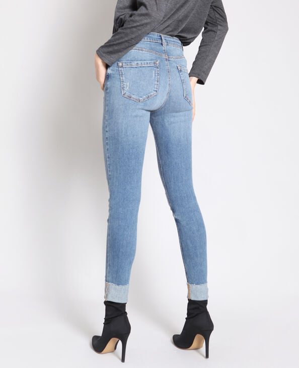 Jeans skinny con risvolto blu delavato