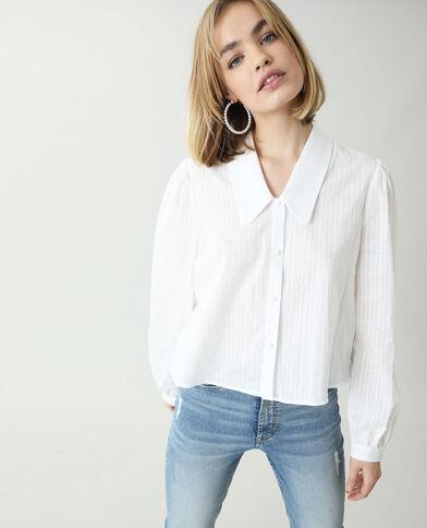 Camicia con motivi fantasia e maxi collo bianco sporco