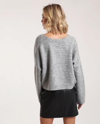 Cardigan corto grigio chiné