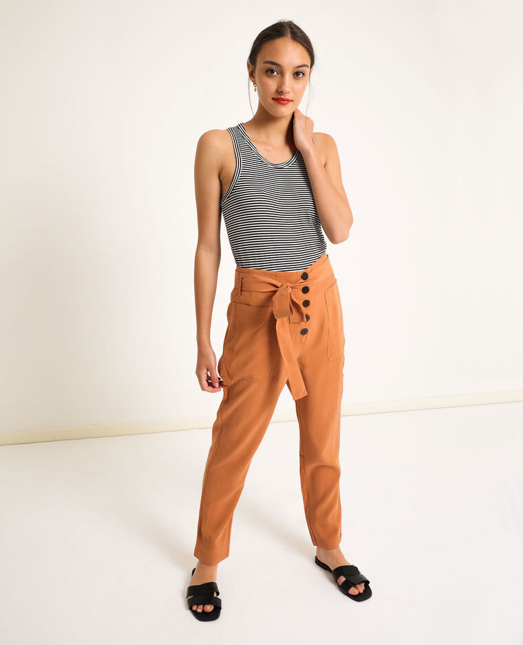 Pantalone morbido terracotta