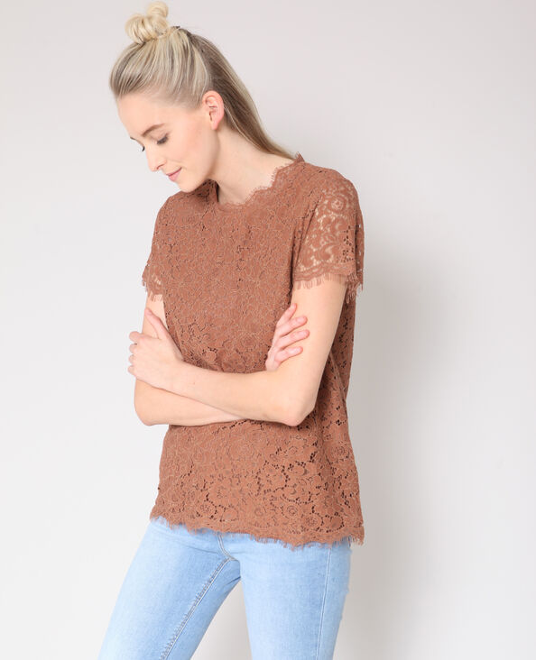 Blusa in pizzo beige sabbia