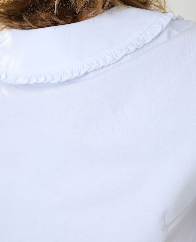 T-shirt con maxi colletto peter pan bianco - Pimkie