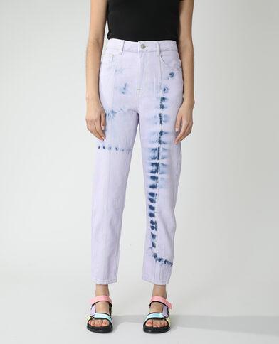 Jeans mom high waist tie and dye blu denim - Pimkie
