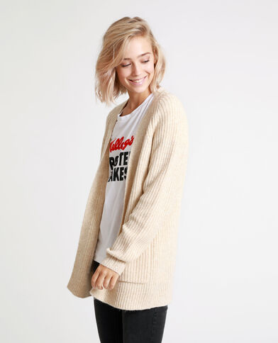 Cardigan di media lunghezza beige