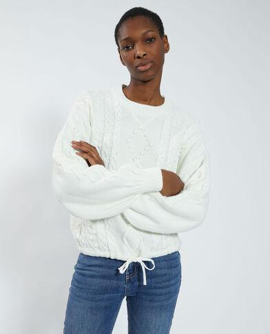 Pull in maglia fantasia regolabile bianco sporco - Pimkie