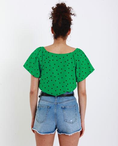Camicia a pois verde
