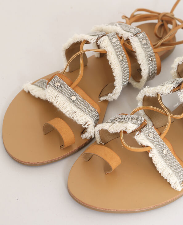 Sandali con frange marrone