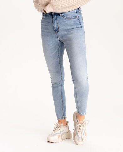 Jeans push up mid waist blu denim