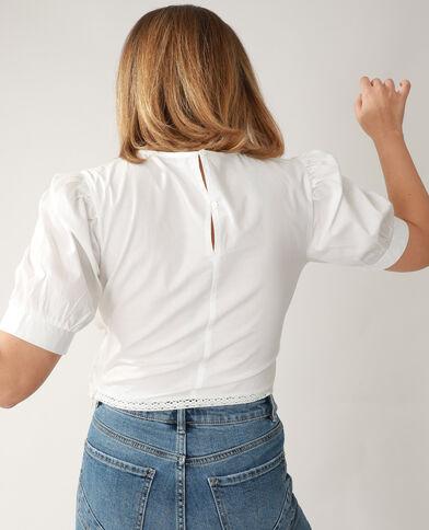 Blusa corta ricamata bianco sporco - Pimkie