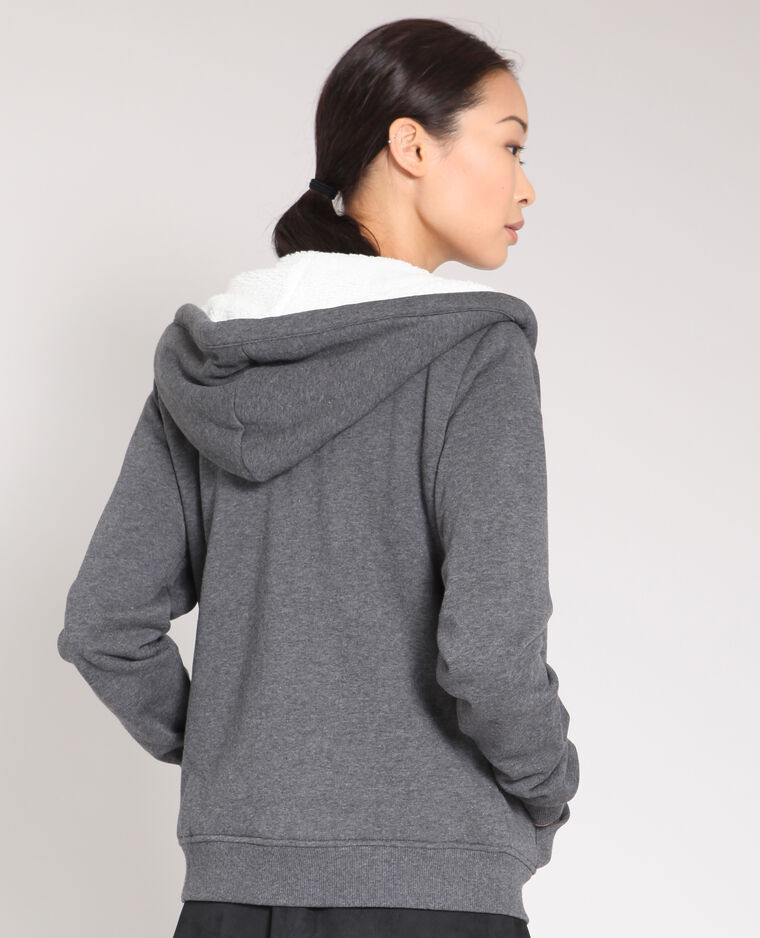 Felpa con zip grigio