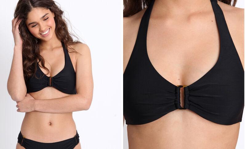 Pezzo sopra di bikini tinta unita nero
