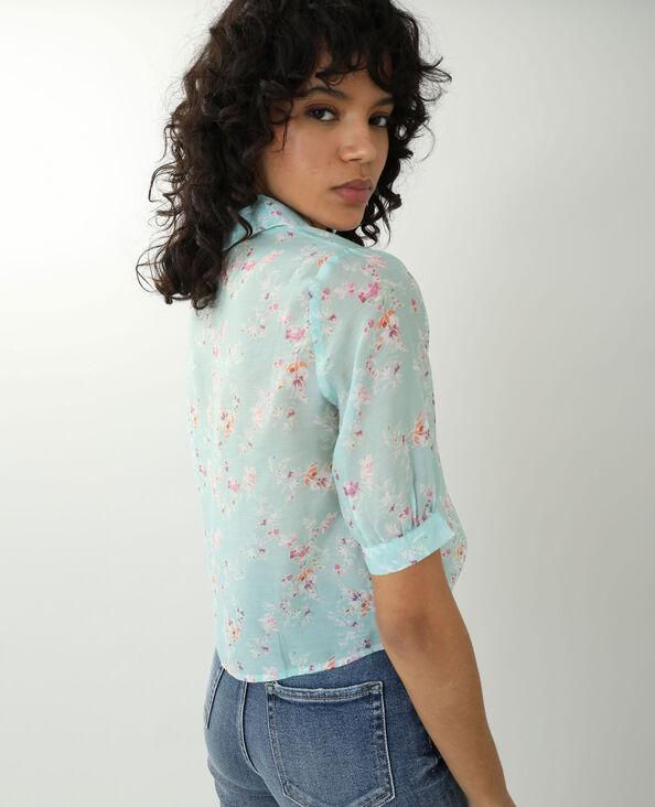 Camicia trasparente a fiori verde acqua - Pimkie