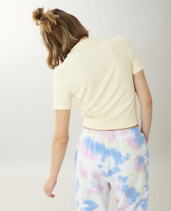 Top in maglia effetto peluche giallo