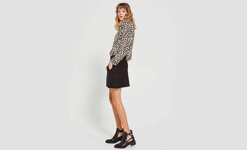 Camicia leopardata nero