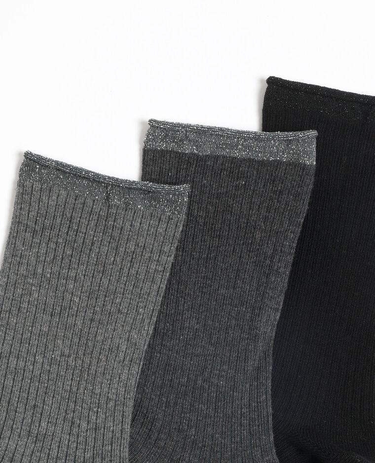 Lotto da 3 paia di calze alte grigio chiaro chiné