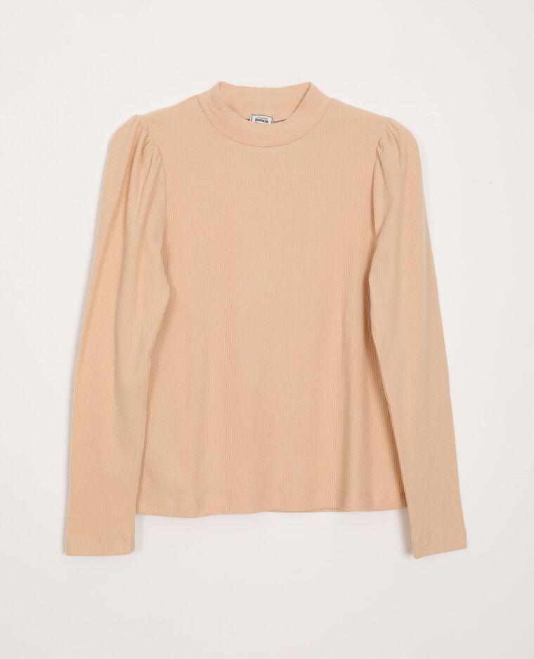 T-shirt con maniche a sbuffo beige