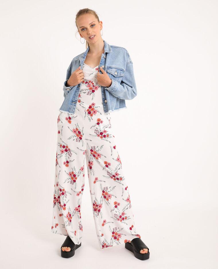 Abito pantalone a fiori écru