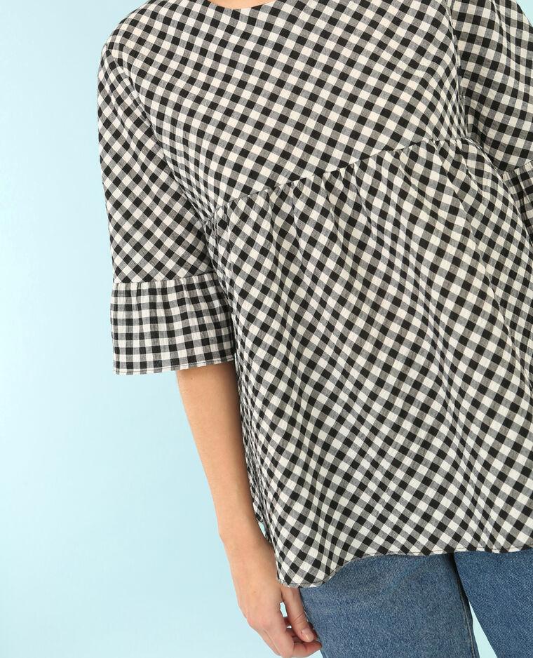 Blusa in popeline vichy bianco