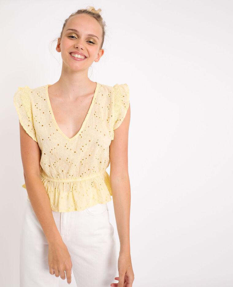 Camicia con ricamo inglese giallo