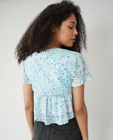 Blusa floreale con volant blu chiaro - Pimkie