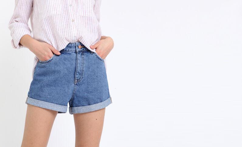 Short in jeans high waist blu denim