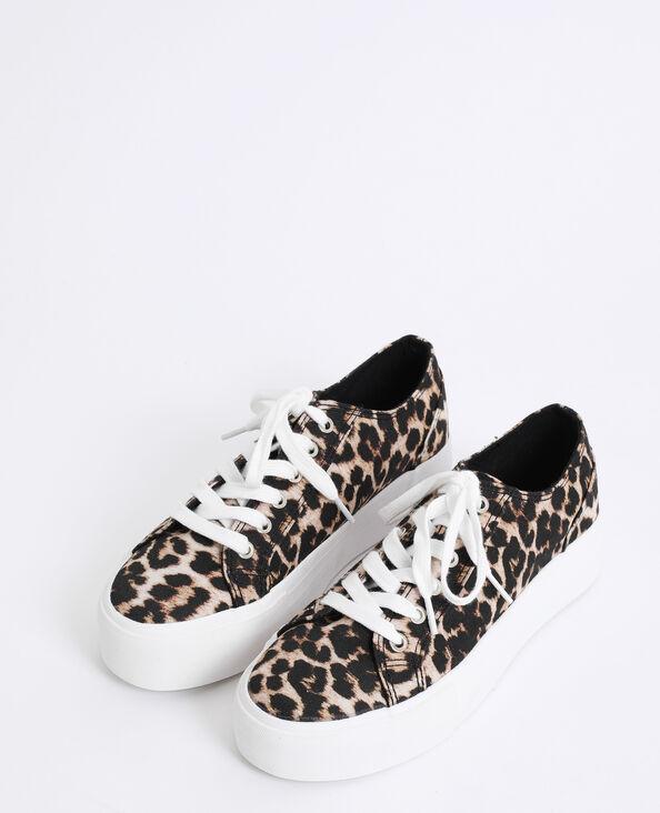 Scarpe sportive leopardate marrone