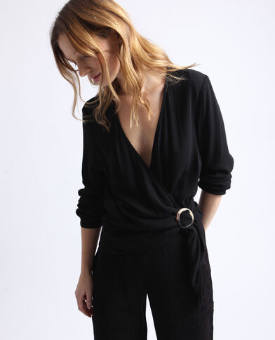 Blusa cache-cœur nero