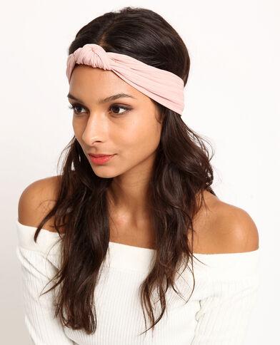 Headband con nodo rosa cipria
