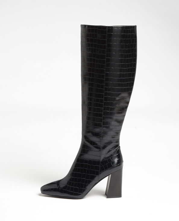Stivali alti effetto coccodrillo nero
