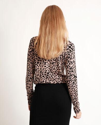 Pull sottile leopardato marrone