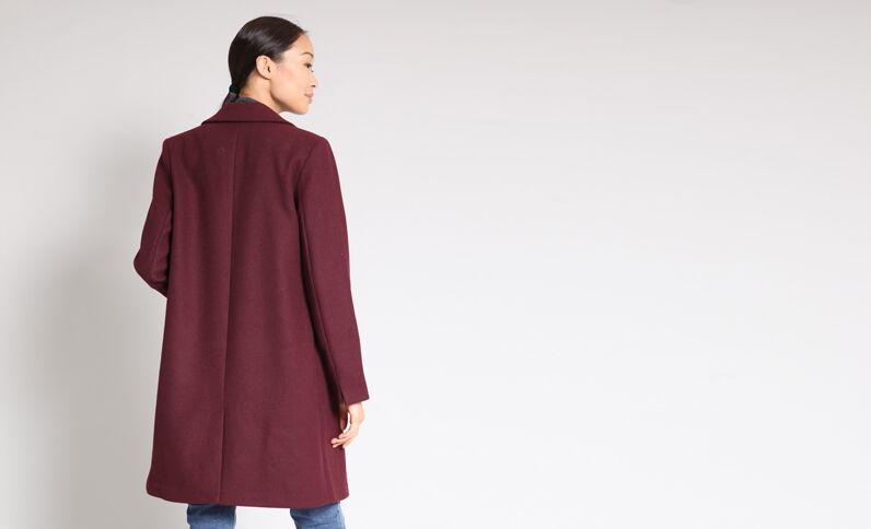 Cappotto dritto in lana bordeaux