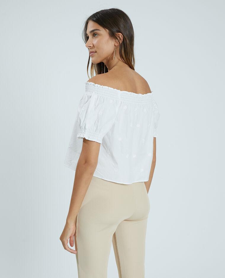 Blusa ricamata bianco sporco - Pimkie