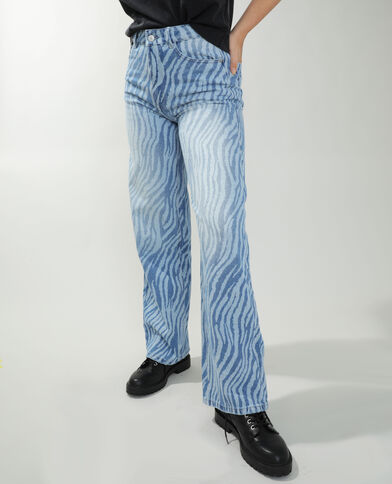 Jeans straight high waist zebrato blu denim