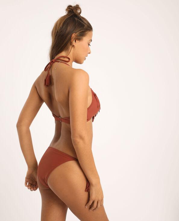 Pezzo sopra di bikini a frange terracotta