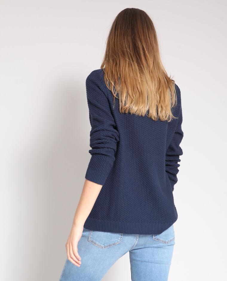 Pull in maglia fantasia blu marino