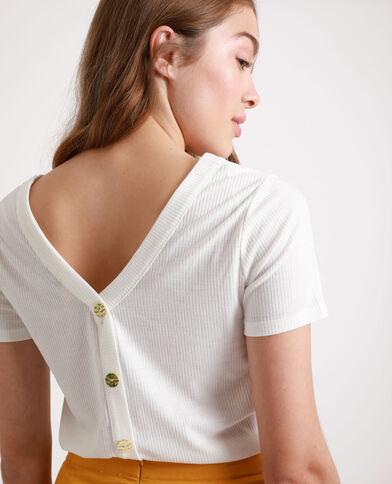 T-shirt abbottonata bianco sporco