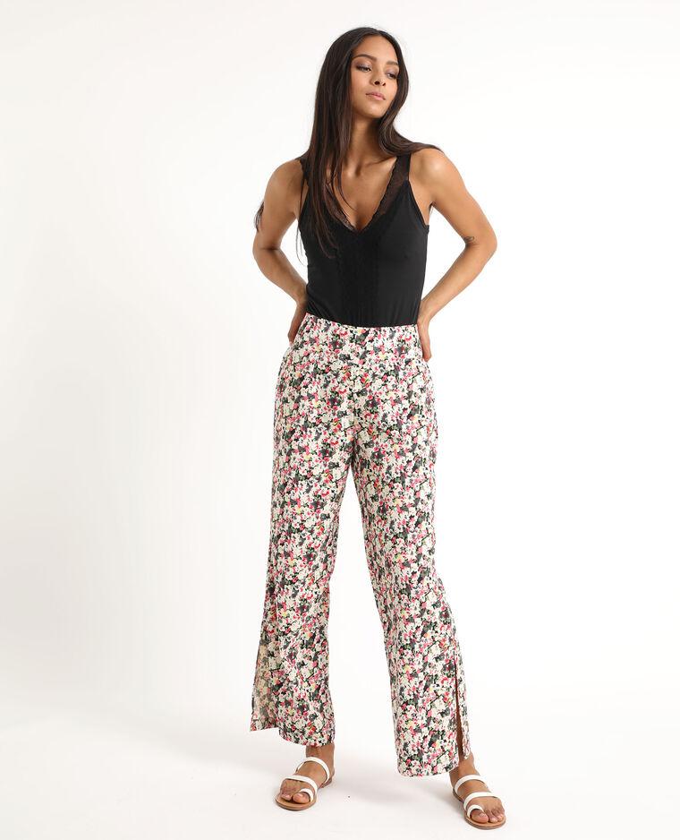 Pantalone morbido a fiori nero