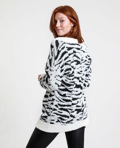 Pull oversize zebrato bianco