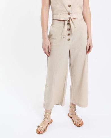 Pantalone in lino beige